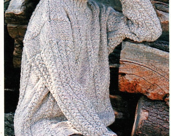 Instant Download PDF Knitting Pattern to make a Womens Aran Cable Oversize Baggy Slouch Sweater 3 Sizes to fit 34 to 38 inch Bust Chest