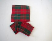 Tartan Plaid Holiday Cocktail Napkins - Set of 6 - Red Green Gold Barware Coasters - Christmas Entertaining - Gift - Vintage Table Linens