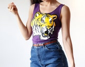 LSU Big Graphic T Fitted Scoop Neck Tank Top Made in USA