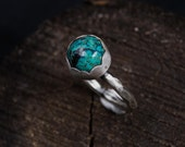 Sterling Silver Turquoise Ring-Hammered Turquoise Ring-Bohemian Jewellery-Boho Rings