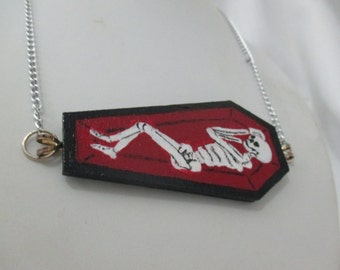 I'm Only Sleeping Hand Painted Skeleton in Coffin Pendant, Skeleton Collar Necklace