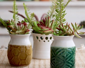 Green Diamond Herringbone Vase - Modern Home Decor - Handmade One of a Kind - READY TO SHIP