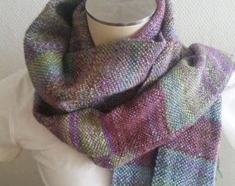 Lavender Handwoven handspun scarf by Star Fiber Studio