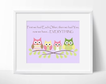 Owls- First we had each other, Nursery or children artwork, decoupage, purple, pink, green, yellow, brown, bird, tree branch