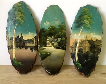 CLEARANCE -- Colonial Art Painting on Oval Redwood Slabs - Set of 3