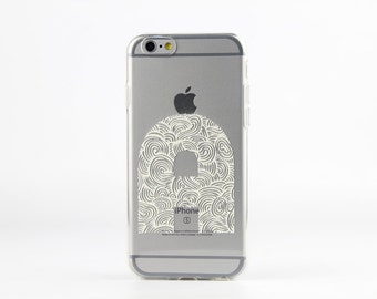 Personalized iPhone 6S case Clear iPhone 6S Plus case painted white initial transparent soft silicon case - TSW6016