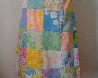 Lily Pulitzer 1970s Summer of Love Patchwork Womens Skirt