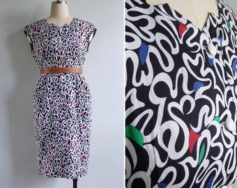 Vintage 80's Zig Zag Neck Squiggle Print Wiggle Dress XS or S