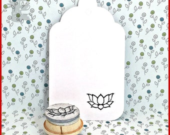Lotus Outline Rubber Stamp