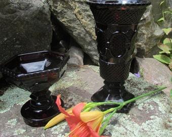 Blood Burgundy Glass Pair Vases Avon Vintage
