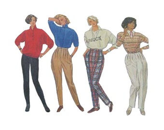 1980s Jodhpurs, Stirrup Pants and Pleated Tapered Pants Simplicity 6991 High Waist Size 12 Waist 26.5 Uncut Vintage Sewing Pattern