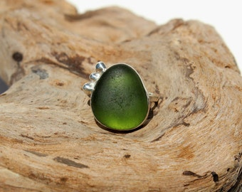 Hawaiian Kauai Olive Teal Green Beach Glass Set in 925 Sterling Silver Handcrafted Ring - Size 7.5