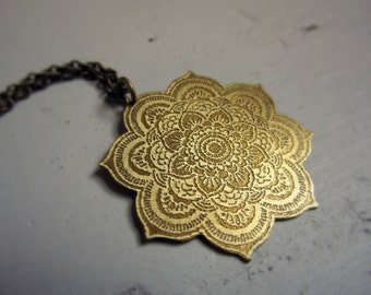 Brass Mandala Pendant - Boho Necklace