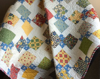 """Vintage Style and Design In This 51"""" X 51"""" Quilt In The Line Called School Days By Sandy Klop For Moda"""