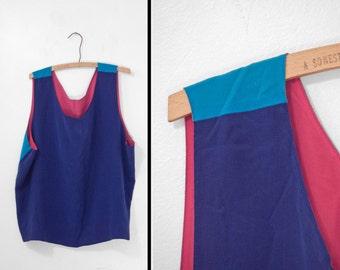 REVERSIBLE Silk Tank 4 Color Block Top Pink Red Aqua Cobalt Blues XL