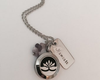 Essential Oil Diffuser Lotus Locket Fundraiser for Cindra Caverley Inspirational Positive Energy Personalized Stainless Steel with Amethyst