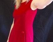 Burgundy Mod A Line Dress. Vintage 60s Button Front Dress, Twiggy Style