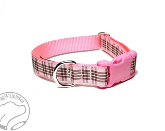 "Raspberry Tartan - Pink Plaid Dog Collar - Quick Release or Martingale Dog Collar - 1"" (25mm) Wide - Your choice of size and style"