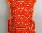 Orange Cobbler Apron with Chickens, Full Coverage Apron, Smock, Over the Head Apron, Gardening Apron, Country Apron, Dinara Mirtalipova