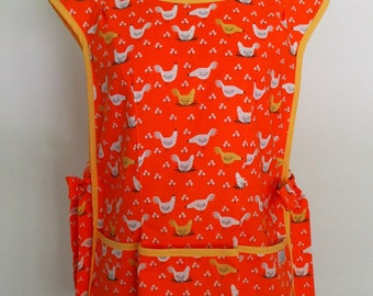 Orange Cobbler Apron with Chickens, Full Coverage Apron, Smock, Over the Head Apron, Gardening Apron, Country Apron, Dinara Mirtalipova