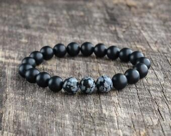 8mm Snowflake Obsidian Bracelet, Matte Onyx Bracelet, Mens Bracelet, Black Beaded Bracelet, Womens Yoga Bracelet, Gemstone Bracelet, Gifts