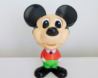 Talking Mickey Mouse Walt Disney Productions Retro Plastic Toy with String Activated Voice