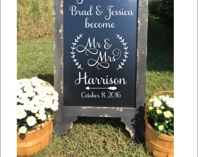 Personalized Wedding Decal Decal for Chalkboard Decal Only DIY Wedding Sign Decal Vinyl Decal with Laurels Wedding Decor Mr and Mrs Decal
