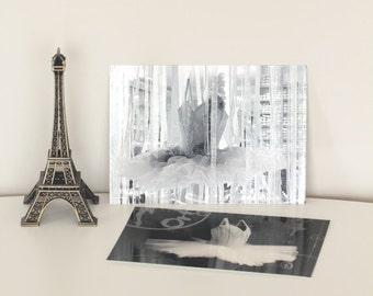 set of 2 prints art postcards ballet art vintage postcards Paris decor bedroom french postcards wall art black and white prints 4x6 print