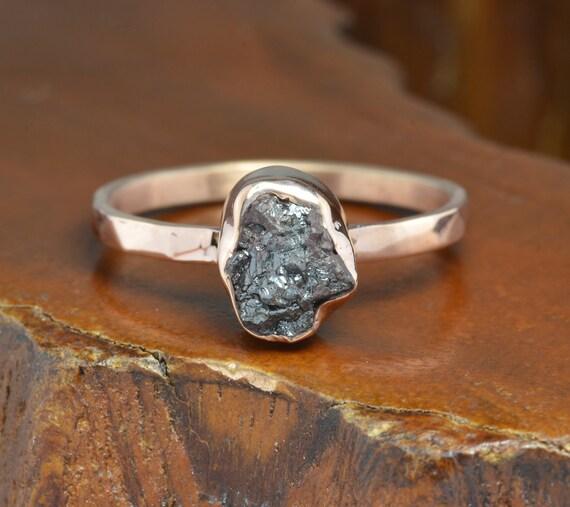 Rough Diamond Rings: 3 Carat Black Rough Diamond Engagement Ring