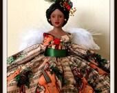 Christmas Angel Tree Topper Porcelain Music Themed OOAK African American Angel