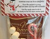 Snowman Soup Treat Bag Topper - Printable File - Instant Download