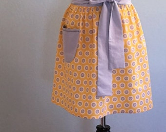 Women's Cute Full Handmade Apron, Vintage Apron, Retro Apron, Kitchen Cooking Apron, Sun Flower Apron,Yellow and Grey Apron, Linens
