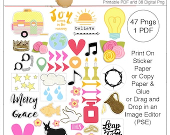 Printable Bible Journaling Clip Art Stickers DIY Faith Stickers, Camper, Light, Donkey, Oil, Word Art, Flowers, Dove, Fish, Coins