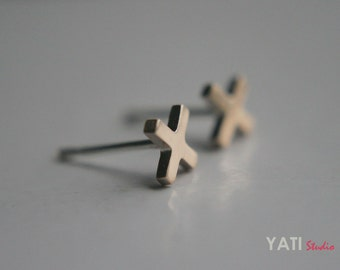 Cross tiny stud earrings, 14K Yellow Gold filled earrings, Cute X-shape stud earrings