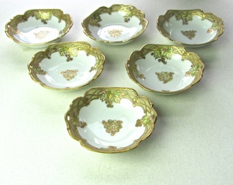 Nippon Porcelain, Miniature Plates, Antique Butter Plates, , Gold Edged, Pale Green Leaves, Hand Painted, Japanese Porcelain, Many Uses