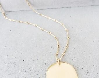 Mound Half Circle Necklace / 14k gold vermeil / half moon pendant / long unique 14k gold filled chain