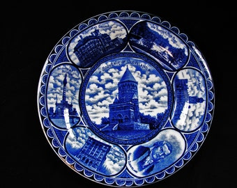 Rowland Marsellus Plate Flow Blue Staffordshire Plate Vintage Souvenir State Plate Cleveland Ohio for May Company circa 1920s 1930s