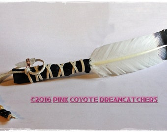 Eagle Smudge White Sage Feather Fan Crystal Quartz Tibetan Charm