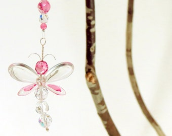 Pink Dragonfly Suncatcher Birthday Gift Swarovski Crystal Ornament Rear View Mirror Charm Gift for Women Car Decor Accessories Holiday Gifts
