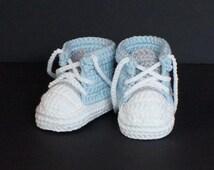 Crochet Baby Shoes,Crochet Baby Booties,Crochet Baby Tennis Shoes,Blue Baby Shoes, Baby Boy Shoes, Baby Boy Booties, Baby Tennis Shoes, Blue