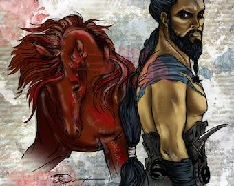 Game of Thrones, Kahl Drogo, Digital Art, Fan Art, Sun and Stars, Dothraki, Jason Mamoa, Horse Warrior