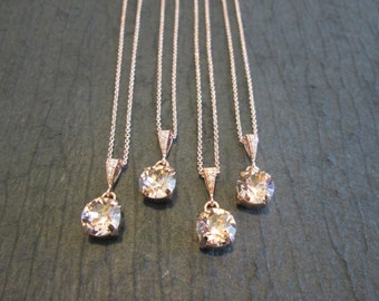 SET of 1,2,3,4,5+ Rose Gold Bridesmaid Necklaces/Rose Gold Crystal Necklace/Vintage Rose Swarovski Necklace/Vintage Rose Wedding Jewelry