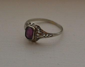 Beautiful edwardian / early art deco 14k white gold filigree engagement ring with purple amethyst paste / BKFAUK