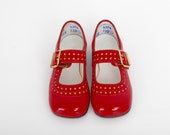 Vintage Girls Toddler Shoes / Red Patent Mary Jane Shoes / US Size 7 / Vintage Baby Shoes / 1960 Shoes
