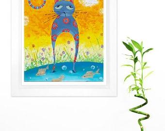 Cat nursery art Cat paintings Cat lovers Katze modern malen Cat nursery decor Cat art print Cat nursery print Kids wall art Cat wall art