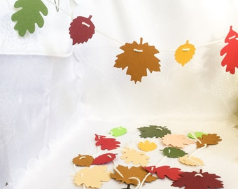 Handmade fall leaf Garland, Thanksgiving decoration, brown, green, orange, Earth colors leaves, 5 ft adjustable garland, autumn , by Wcards