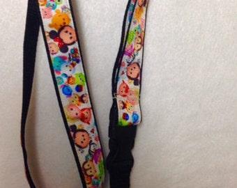 TSUM TSUM, Lanyard,Detachable, white ribbon w/ black webbing, keys, ID, Security, Bus Pass