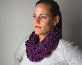Purple Chain Scarf Necklace . Short . Purple Infinity Scarf . Chain Scarf . Crochet Chain Scarf . Trend . DottieQ Scarf . Braided Scarf