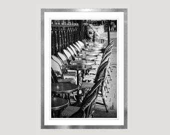 Paris Cafe chairs Photography, Black and White Paris print, Vertical wall art poster, large wall decor, 11x14, 12x16, 16x20, 24x30 photo