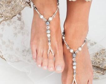 Bridal foot jewelry, Metallic Beach wedding Barefoot Sandals, Swarovski elements, Honeymoon sexy accessory, Mismatch Silver Barefoot Sandal